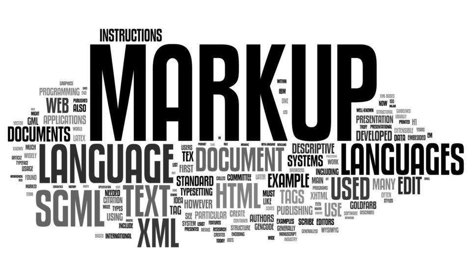 Markup related concepts in word tag cloud isolated on white background